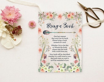 Floral Bring a Book Request - Printable Boho Tribal Watercolor Rustic Baby Shower Insert - Build Baby's Library - Instant Download