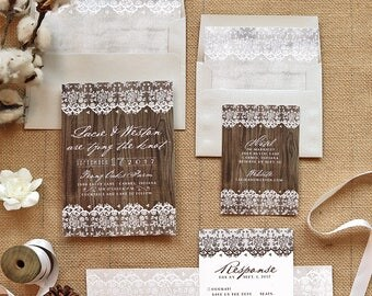 Rustic Lace Wedding Invitation Set - Wooden Vintage Wedding Invite Suite for a Country Wedding - Barn Wedding - Printable - Printed