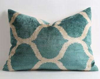 Ikat Velvet Pillow Cover - Green Velvet Pillow - boho ikat pillow - green velvet ikat cushion - green white pillow - green velvet pillow