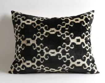 Black and white silk velvet ikat pillow cover 16x20 handwoven hand dyed pillow