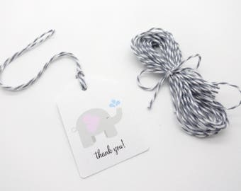 """12 Elephant Gift Tags w/ Twine, (2"""" x 1.5"""" Tags) Personalized Elephant theme party favor tags, Light Pink Baby Girl Shower Favor tags"""