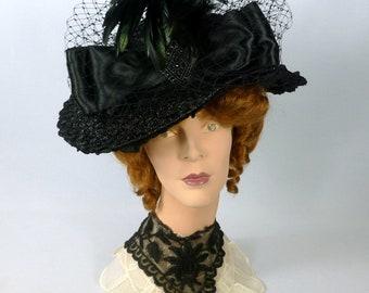 Reproduction Black Straw Victorian Edwardian Hat, Vintage Satin Ribbon, Veiling, Vintage Metal Accent, Feathers, SASS,  Re-enactors, Costume