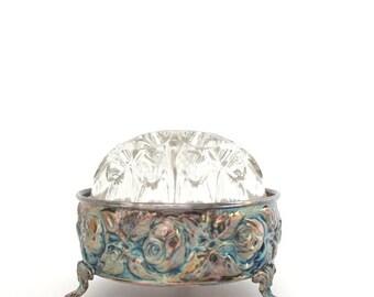 Vintage Flower Frog, Silver Flower Frog, de Uberti Flower Frog, de Uberti of Italy, Glass Flower Frog, Silver & Glass, Flower Arranger,