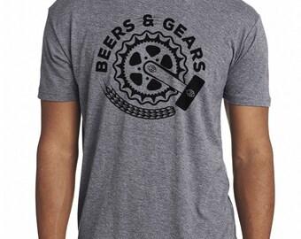 Craft Beer and Bikes shirt- Gears & Beers- Men's crew neck