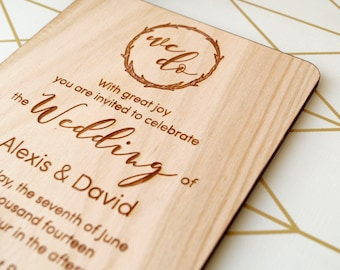Wooden wedding invitation, rustic wedding invites, real wood wedding invitations, laser engraved invitation, your choice of wood, set of 10