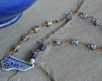 wire wrapped glass art boho style mixed media azul necklace
