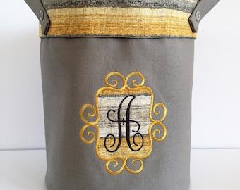 Grey - Yellow/Grey Striped Liner - Round Fabric Storage Bin/Decorative Container