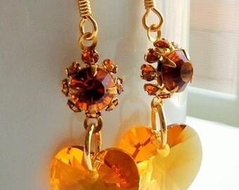 Swarovski Heart Earrings/Vintage Earrings/Topaz Earrings/Swarovski Online Shop/Heart Earrings/Heart Jewelry/Hearts/Dangle Earrings