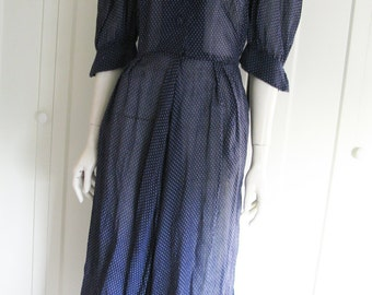 SALE - Vintage 30's Dress - Sheer  Navy Blue Dotted Swiss - Size Small - Waist 26""