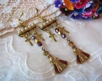 Infant of Prague earrings, old medals, Baby Jesus, tiny crosses, small crucifixes, shabby pearls, Catholic Christian religious jewelry 2.75""