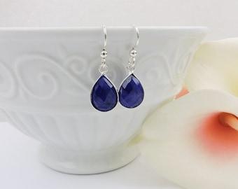 FREE US Ship Sterling Silver Sapphire Teardrop Earrings Silver Sapphire Earrings Real Sapphire Corundum Earrings September Birthstone