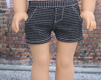 18 Inch Girl Doll Clothes   Black White Pin Dot Tweed SHORTS American Made