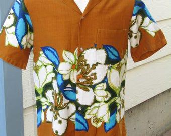 Vintage 60's Floral Barkcloth Hawaiian Aloha Shirt by Togs Mens Size M