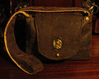 Victorian Gibson Girl Brown Faux Leather Messenger/Shoulder Bag with matching checkbook cover -- Gibson Girl