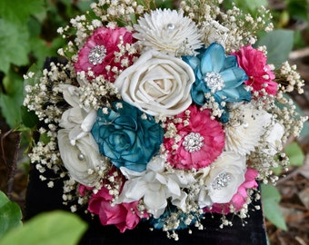 Wedding Bouquet Sola Bouquet Rustic Bouquet Teal Bouquet Pink Bouquet Wedding Bouquet Sola Bouquet Brooch Bouquet Fall Bridesmaid