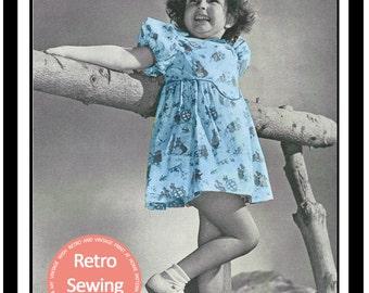 Little Girls Summer Dress 1940s Sewing Pattern - Paper Pattern