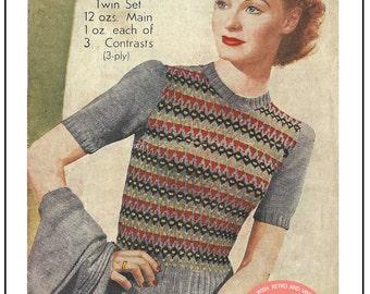 Winter sale 1940s Fair Isle Twin Set Knitting Pattern - PDF Instant Download
