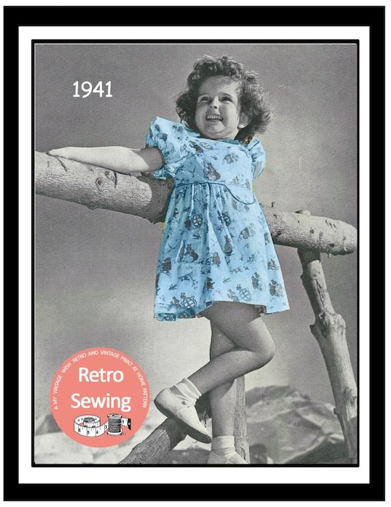 Vintage Style Children's Clothing: Girls, Boys, Baby, Toddler Little Girls Summer Dress 1940s Sewing Pattern - Paper Pattern $8.33 AT vintagedancer.com