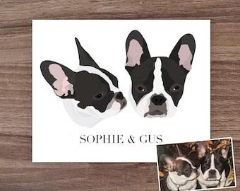 Custom Two Dog Portrait, Custom Three Dog Portrait, Custom Dog Art, Custom Pet Portrait, Pet Mom Gift, Personalized Pet Gift, Dog Lover Gift