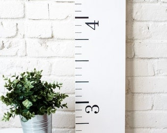Growth Chart Ruler: Farmhouse White | Wood Home Decor | Family Keepsake Gift | Measuring Stick | Oversized Ruler | Nursery Decor | Rustic