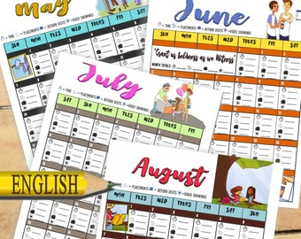 PRINTABLE: Children's Ministry Calendar & Field Service Records Charts (Perfect for Campaigns CO Visits and Family Worship)