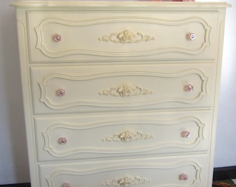 SOLD - Vintage French Provincial Highboy Dresser in Butter Yellow