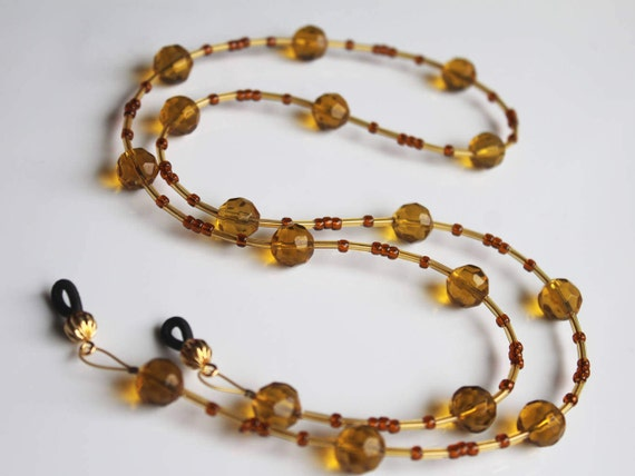 Honey Colored Beaded Eyeglass Chain, Amber Beaded Lanyard for Reading Glasses