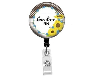 Retractable Badge Reel - Sunflower ID Badge - Badge Reels - Sunflower Badge Reel - Spring Badge Reel - Id Badge Holder - Nurse Badge