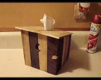 Outhouse Tissue Box Cover, Rustic Reclaimed Rough-Cut Home Decor Tissue Holder