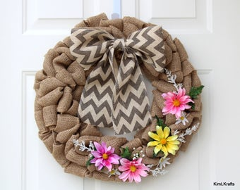 Wreath - Burlap Wreath - Floral Wreath - Spring Wreath - Summer Wreath - Door Decor - Door Wreath - Front Door Wreath