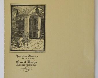 Vintage Art Nouveau French Menu,  Alsace Menu, French Advertising, Fabulous Graphics, French Restaurant Menu,