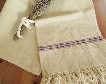 211. Flax linen hemp towel, vintage organic linen, homespun pure flax linen towel, flax linen hemp towel, handwoven guest towel  (unused)