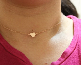Tiny heart necklace, initial necklace, dainty heart necklace, rose gold heart necklace, delicate necklace, Bridesmaid gift, child necklace
