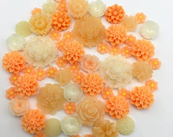 60 resin cabochon flowers, 8mm to 24mm #FL071