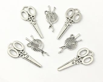 8 sewing knitting charms, antique silver  # Ch 012