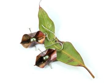 Bohemian Earrings, Copper Earrings, Botanical Earrings, Fold Formed Earrings, Nature Earrings Gift, Silver Earrings, Boho Earrings, Dangle