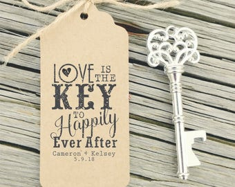 Key Wedding Favors Tag Rubber Stamp, Love is the Key, Rustic Wedding Favors, Vintage Keys Stamp, Key Bottle Opener Tag, Wedding Stamps 10312