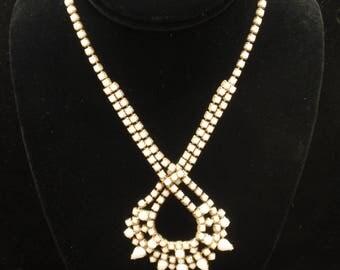 White Glass Stones Necklace Vintage
