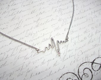 Heartbeat necklace with stainless steel chain