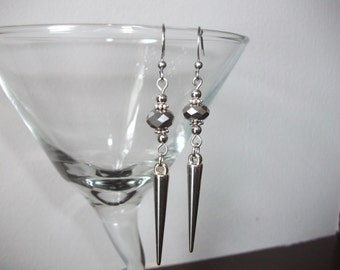 Silver spike earrings with crystals
