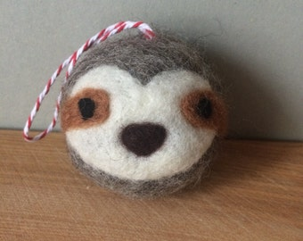 Sloth face needle felted Christmas tree bauble decoration ornament handmade made to order