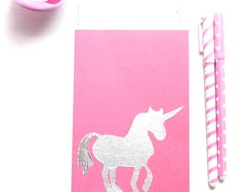 Pink unicorn card, folded card with silver unicorn, Birthday party invitation, greeting card