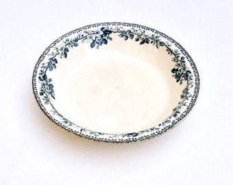 Antique French Ironstone Terre de fer Shallow Large bowl Hellebore Roses Debray Guadeloupe