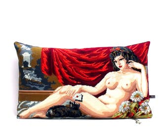 French Vintage Needlepoint Tapestry Nude Risque Kitsch reworked Statement Pillow Cushion Coussin