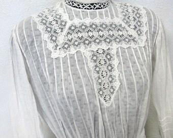 Antique Victorian Cotton Lace Blouse Edwardian Blouse