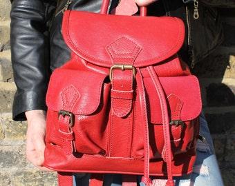 Mini Rucksack Red Leather