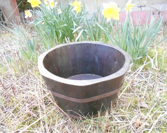 French vintage planter in half barrel shape, large plant tub. Garden decor, large wooden planter, rustic garden ornament. French country.