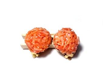 Vintage clip earrings coral Earclips coral