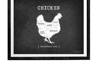 Traditional butcher print Butcher poster chicken diagram butcher diagram meat cuts kitchen art kitchen print butcher cuts chicken print