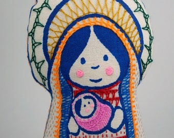 Mariita (little Mary), virgin Mary with child, soft saint, screen printed in blue and hand embroidered